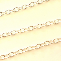 Silver plated 2x3mm Cable Chain Pk of 1M